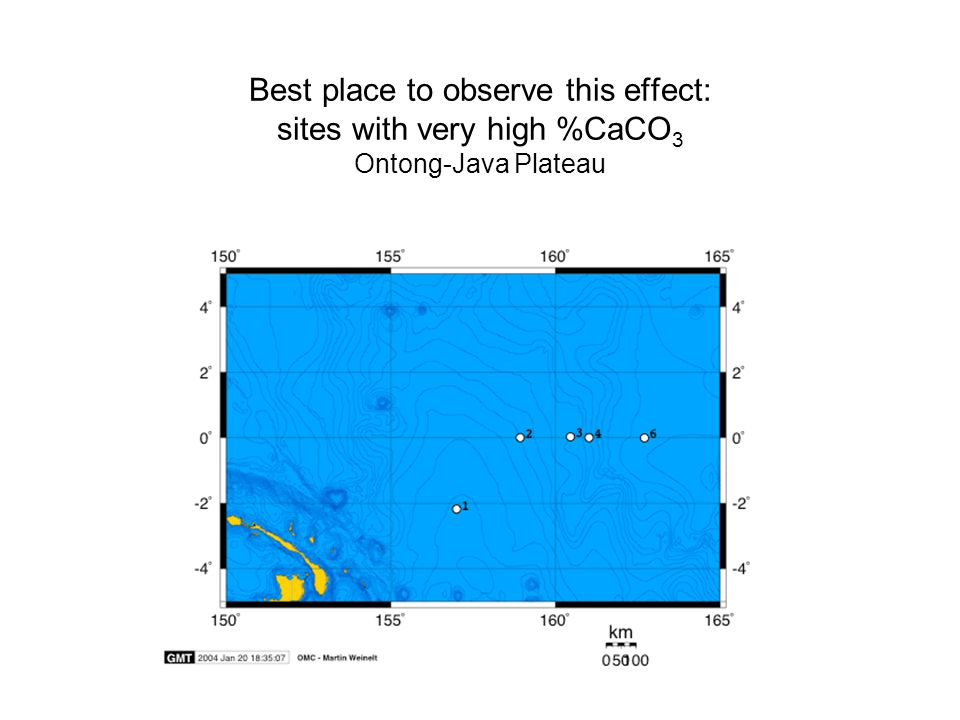 Best place to observe this effect: sites with very high %CaCO 3 Ontong-Java Plateau