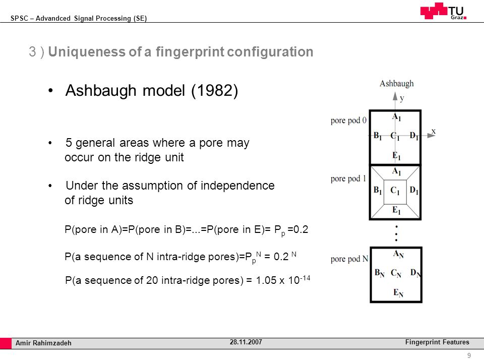 SPSC – Advandced Signal Processing (SE) Professor Horst Cerjak, 19.12.2005 9 Amir Rahimzadeh 28.11.2007 Fingerprint Features 3 ) Uniqueness of a fingerprint configuration Ashbaugh model (1982) 5 general areas where a pore may occur on the ridge unit Under the assumption of independence of ridge units P(pore in A)=P(pore in B)=...=P(pore in E)= P p =0.2 P(a sequence of N intra-ridge pores)=P p N = 0.2 N P(a sequence of 20 intra-ridge pores) = 1.05 x 10 -14
