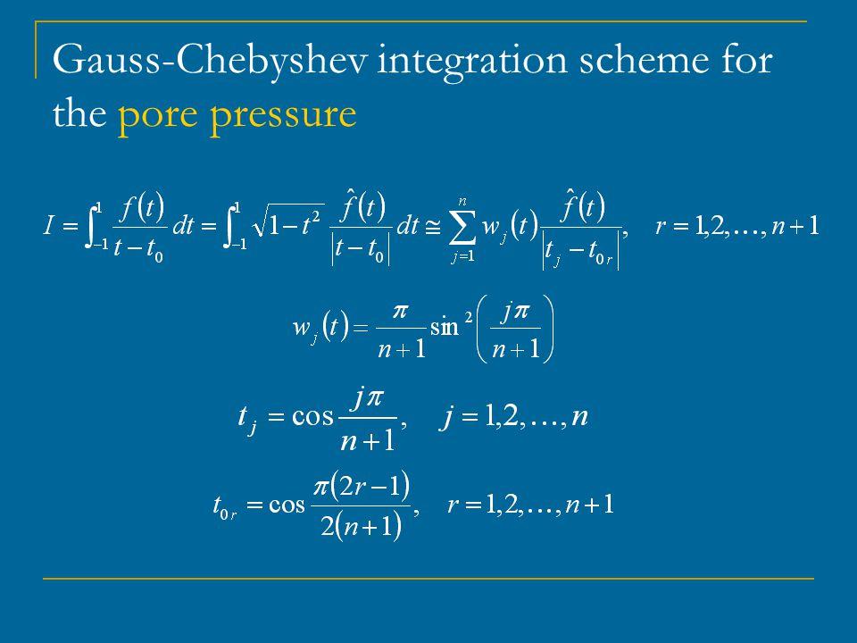 Gauss-Chebyshev integration scheme for the pore pressure