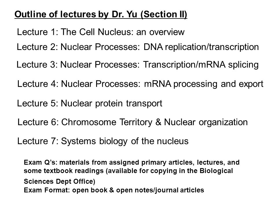 Outline of lectures by Dr.