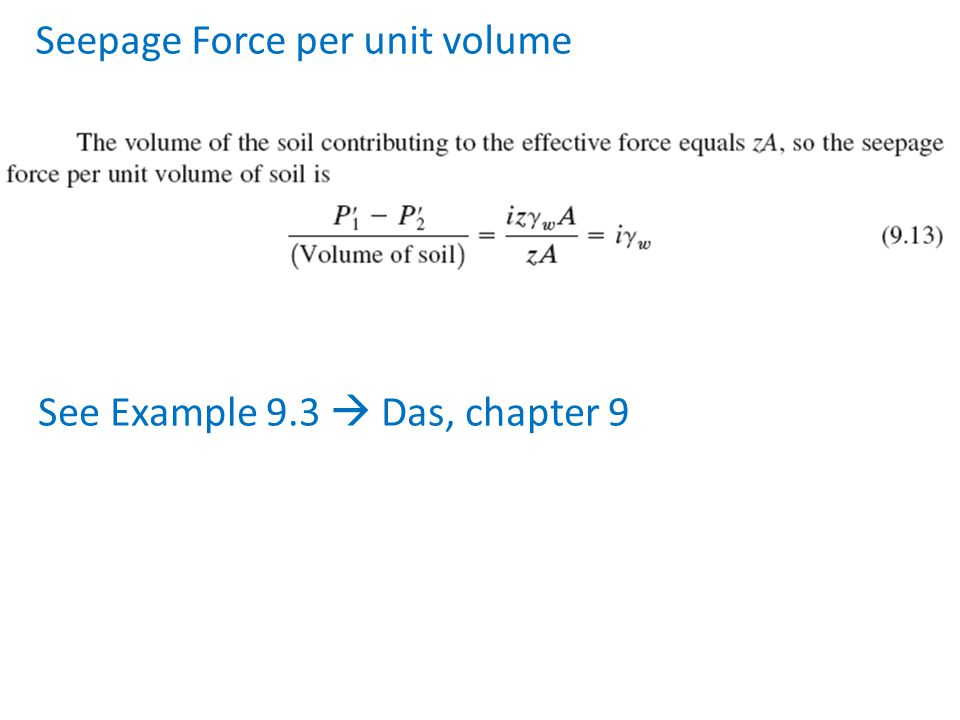 Seepage Force per unit volume See Example 9.3  Das, chapter 9