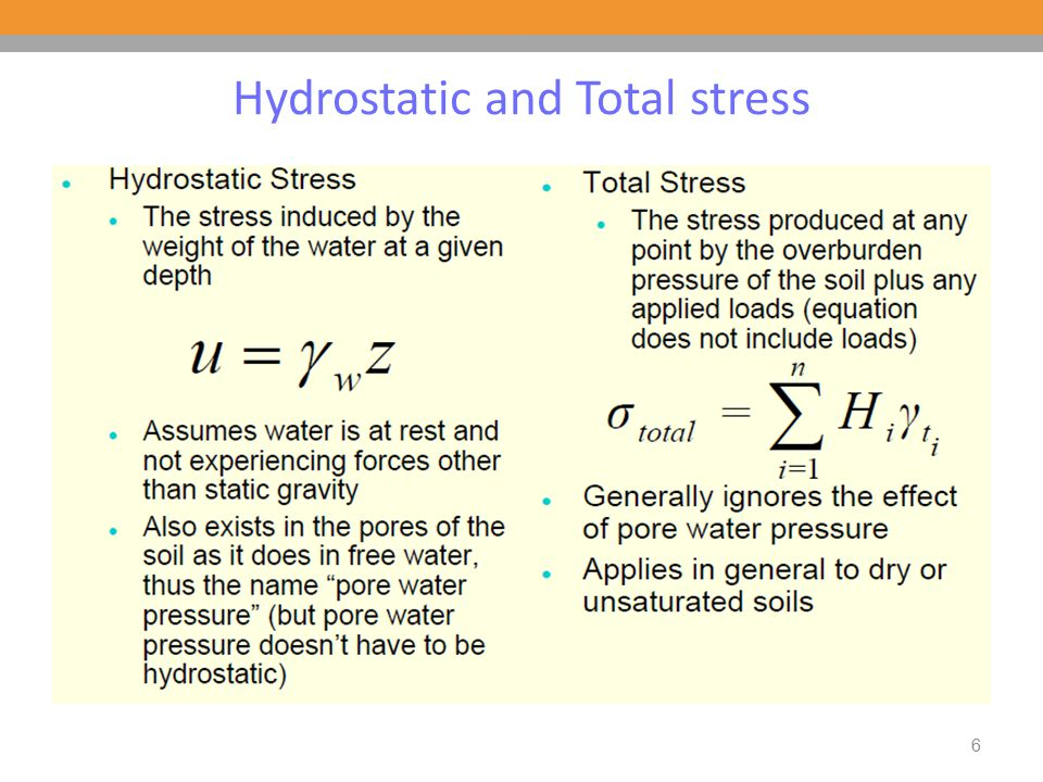 6 Hydrostatic and Total stress