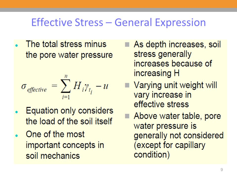 Stresses in Saturated Soils without Seepage (No flow) Variations of the total stress, pore water pressure, and effective stress, respectively, with depth for a soil layer without seepage