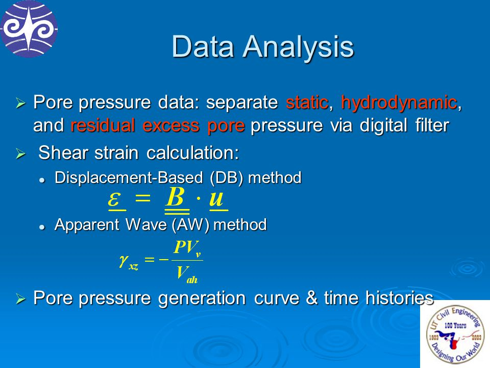 Data Analysis  Pore pressure data: separate static, hydrodynamic, and residual excess pore pressure via digital filter  Shear strain calculation: Di