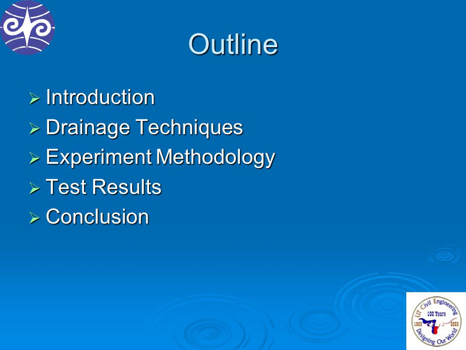 Outline  Introduction  Drainage Techniques  Experiment Methodology  Test Results  Conclusion