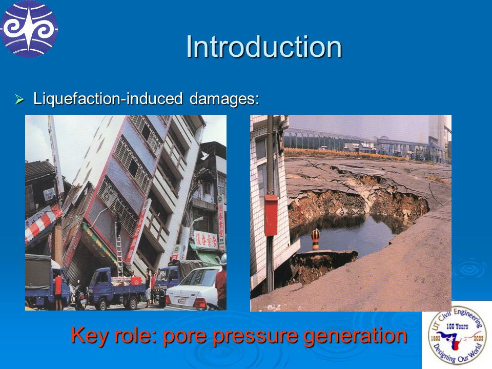 Introduction  Liquefaction-induced damages: Key role: pore pressure generation