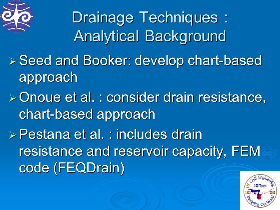 Drainage Techniques : Analytical Background  Seed and Booker: develop chart-based approach  Onoue et al. : consider drain resistance, chart-based ap