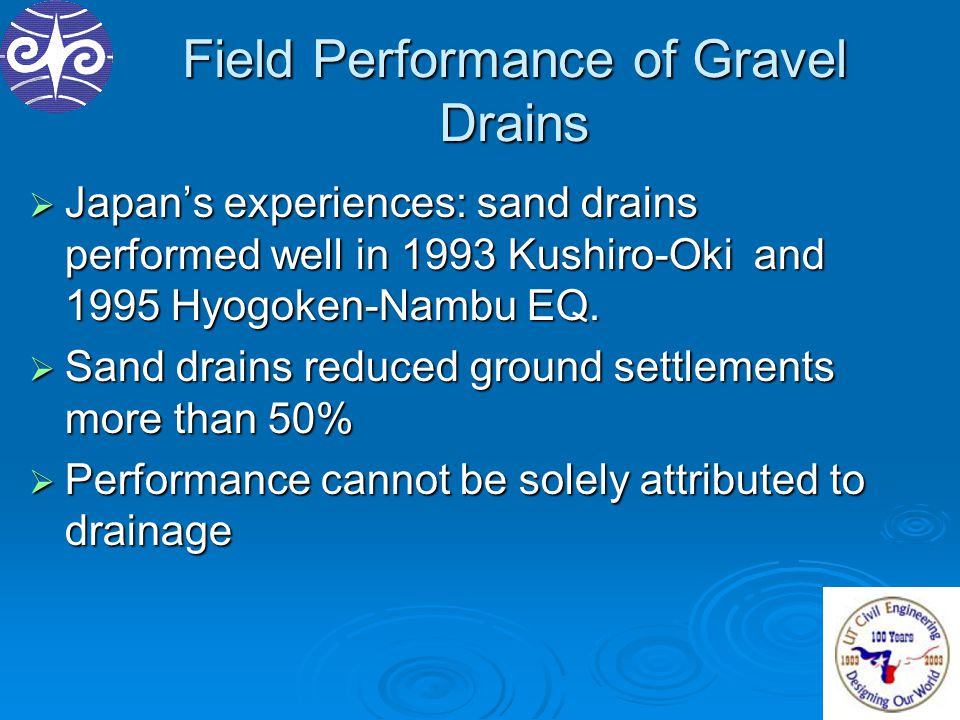 Field Performance of Gravel Drains  Japan's experiences: sand drains performed well in 1993 Kushiro-Oki and 1995 Hyogoken-Nambu EQ.  Sand drains red