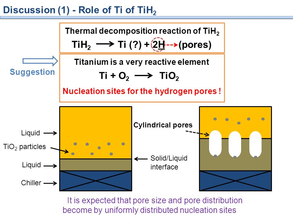 Discussion (1) - Role of Ti of TiH 2 Thermal decomposition reaction of TiH 2 Titanium is a very reactive element Ti + O 2 TiO 2 Nucleation sites for the hydrogen pores .
