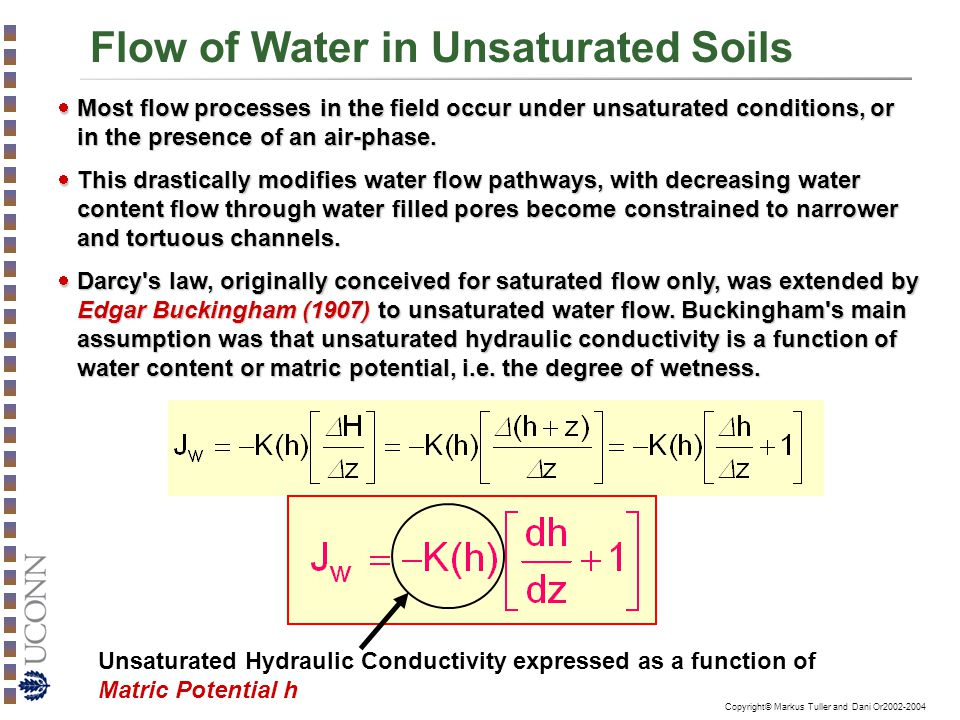 Copyright© Markus Tuller and Dani Or2002-2004 Flow of Water in Unsaturated Soils  Most flow processes in the field occur under unsaturated conditions, or in the presence of an air-phase.