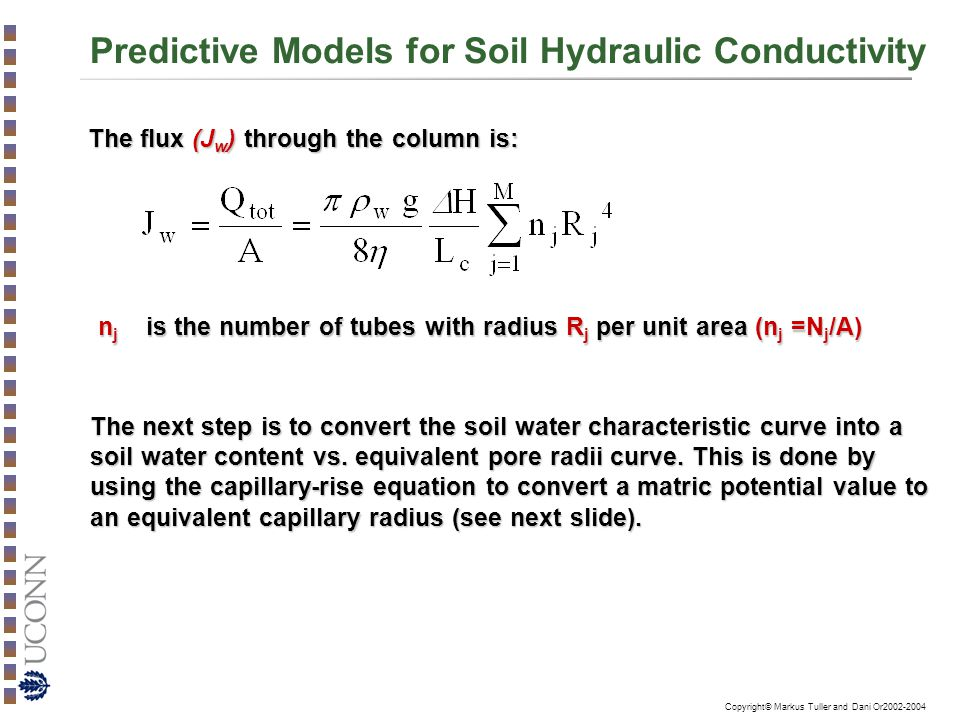 Copyright© Markus Tuller and Dani Or2002-2004 Predictive Models for Soil Hydraulic Conductivity The flux (J w ) through the column is: n j is the number of tubes with radius R j per unit area (n j =N j /A) The next step is to convert the soil water characteristic curve into a soil water content vs.