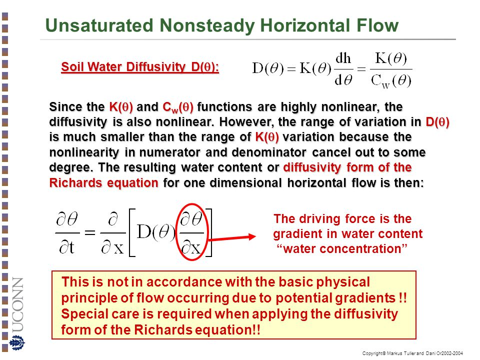 Copyright© Markus Tuller and Dani Or2002-2004 Unsaturated Nonsteady Horizontal Flow Soil Water Diffusivity D(  ): Since the K(  ) and C w (  ) func