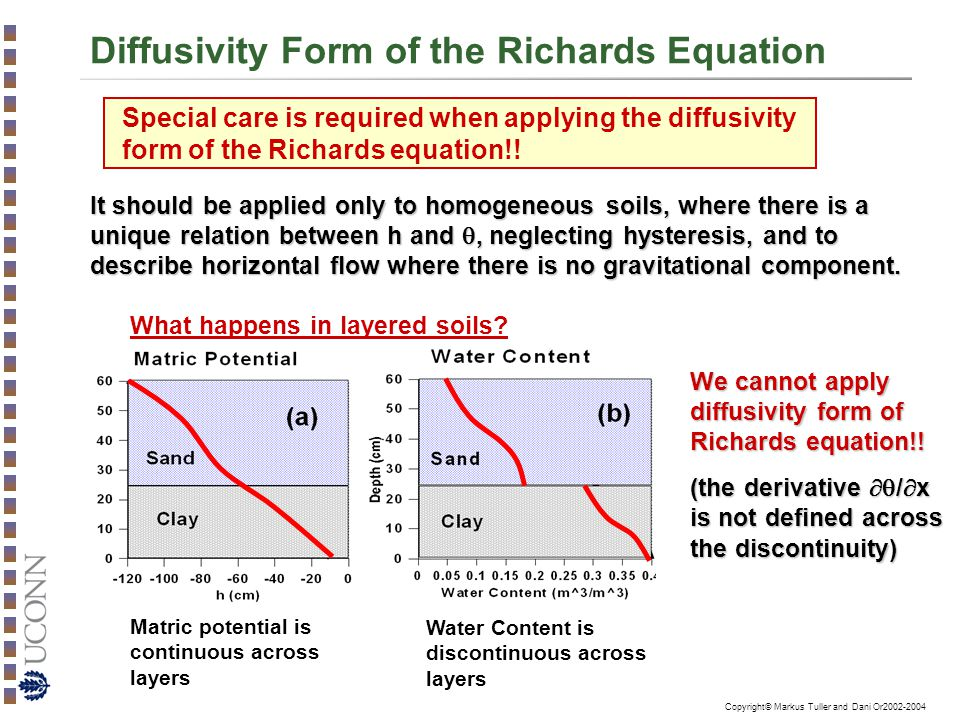 Copyright© Markus Tuller and Dani Or2002-2004 Diffusivity Form of the Richards Equation It should be applied only to homogeneous soils, where there is a unique relation between h and , neglecting hysteresis, and to describe horizontal flow where there is no gravitational component.