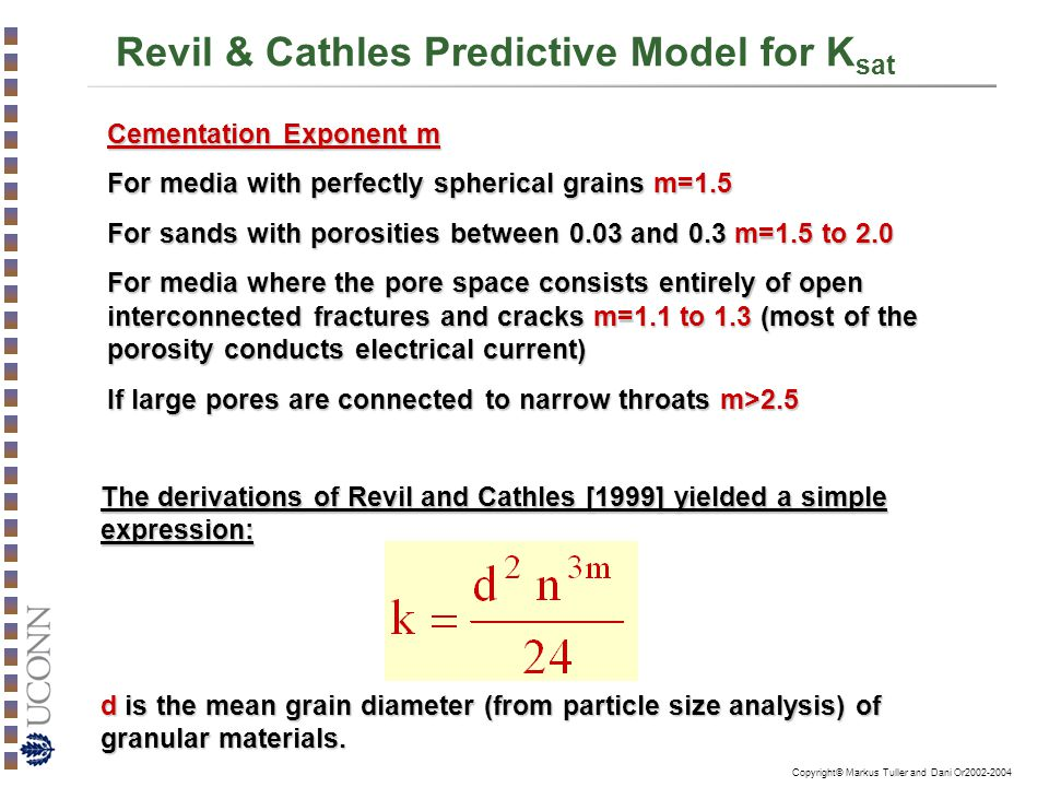 Copyright© Markus Tuller and Dani Or2002-2004 Revil & Cathles Predictive Model for K sat Cementation Exponent m For media with perfectly spherical gra