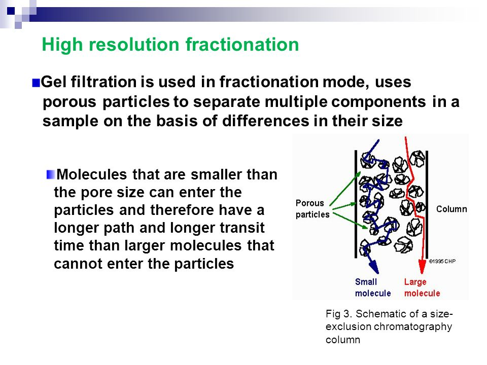 High resolution fractionation Gel filtration is used in fractionation mode, uses porous particles to separate multiple components in a sample on the b
