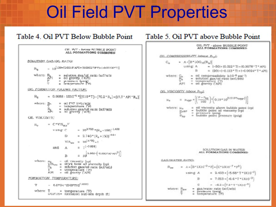 Oil Field PVT Properties