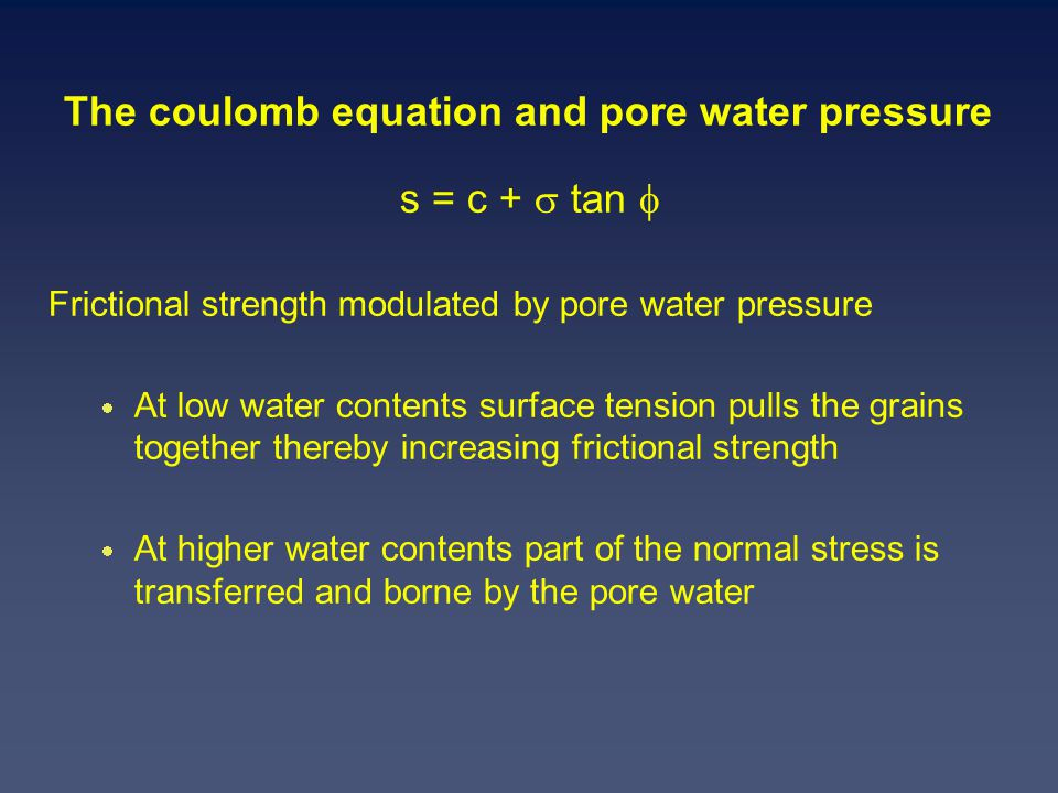The coulomb equation and pore water pressure s = c +  tan  Frictional strength modulated by pore water pressure  At low water contents surface tension pulls the grains together thereby increasing frictional strength  At higher water contents part of the normal stress is transferred and borne by the pore water