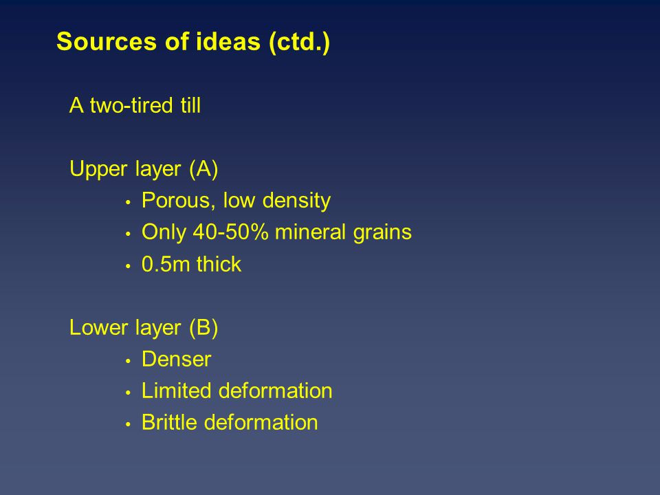 Sources of ideas (ctd.) A two-tired till Upper layer (A) Porous, low density Only 40-50% mineral grains 0.5m thick Lower layer (B) Denser Limited deformation Brittle deformation