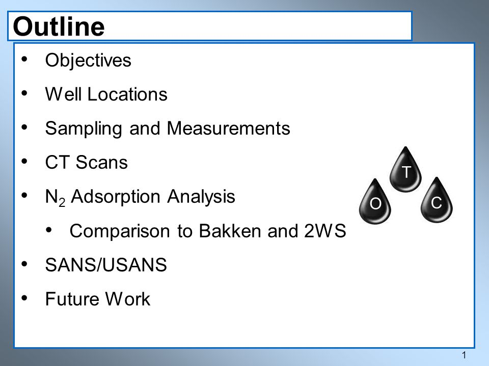 Outline 1 Objectives Well Locations Sampling and Measurements CT Scans N 2 Adsorption Analysis Comparison to Bakken and 2WS SANS/USANS Future Work T O