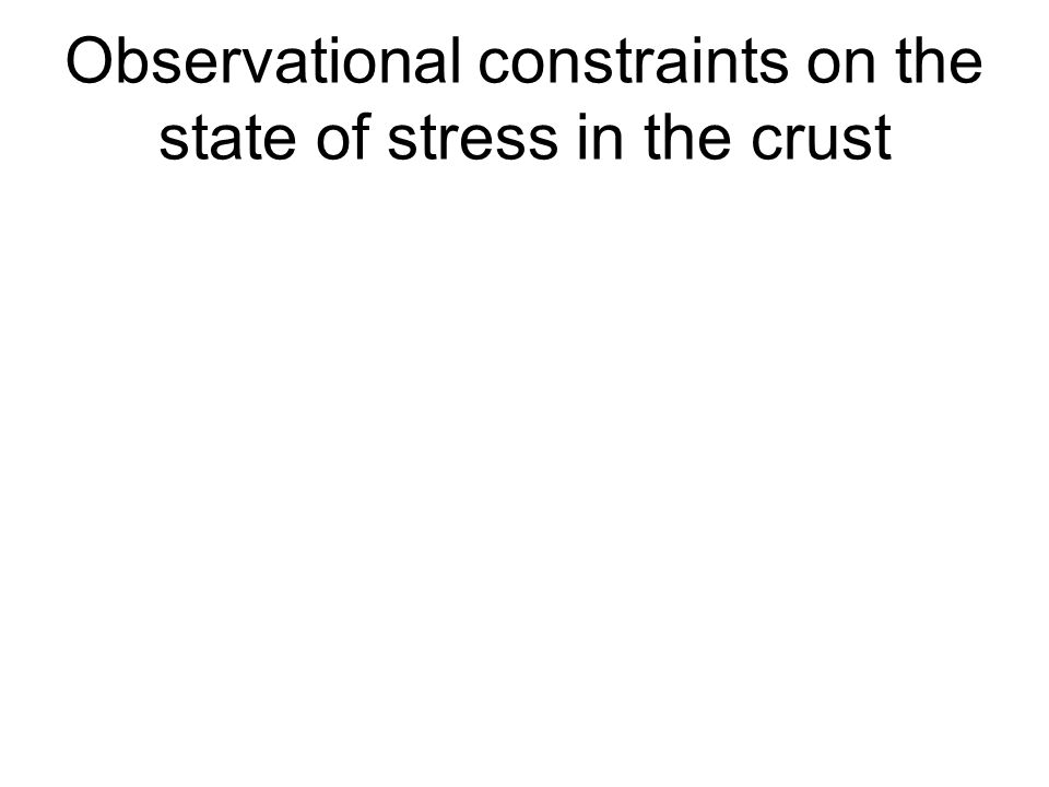 Observational constraints on the state of stress in the crust
