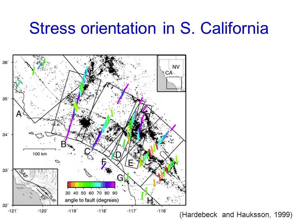 Stress orientation in S. California (Hardebeck and Hauksson, 1999)