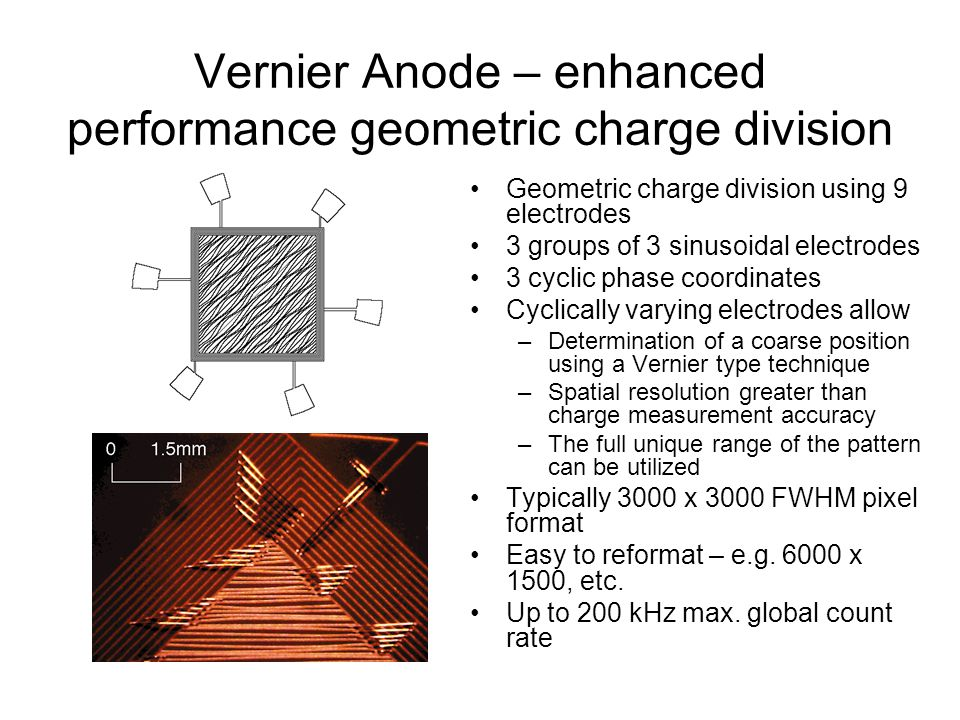 Vernier Anode – enhanced performance geometric charge division Geometric charge division using 9 electrodes 3 groups of 3 sinusoidal electrodes 3 cyclic phase coordinates Cyclically varying electrodes allow –Determination of a coarse position using a Vernier type technique –Spatial resolution greater than charge measurement accuracy –The full unique range of the pattern can be utilized Typically 3000 x 3000 FWHM pixel format Easy to reformat – e.g.