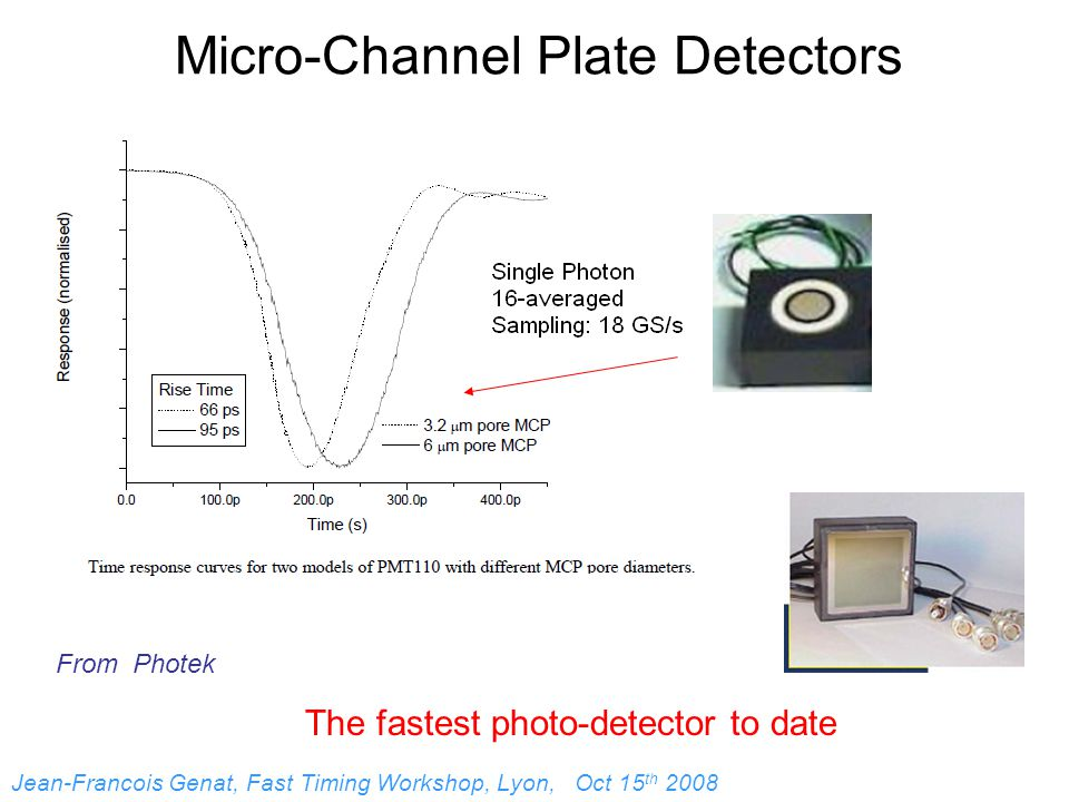 Micro-Channel Plate Detectors The fastest photo-detector to date From Photek Jean-Francois Genat, Fast Timing Workshop, Lyon, Oct 15 th 2008