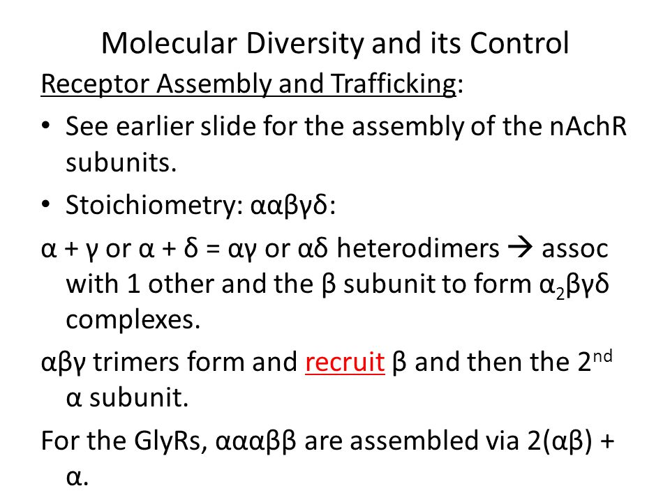 Molecular Diversity and its Control Receptor Assembly and Trafficking: See earlier slide for the assembly of the nAchR subunits.