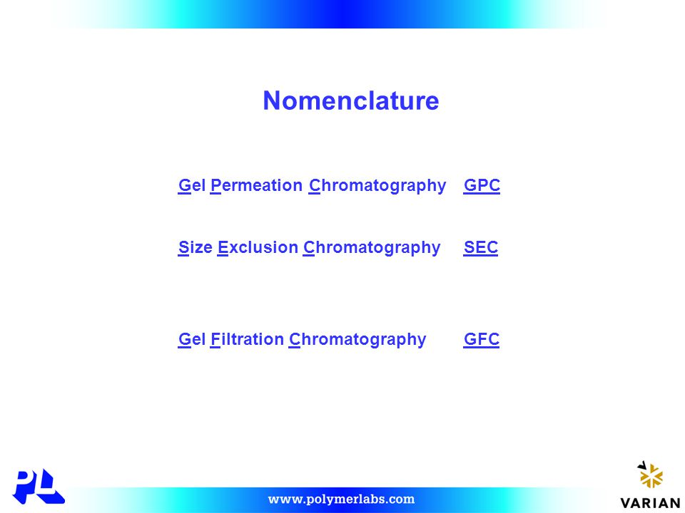Types of Liquid Chromatography Interactive adsorption, partition, ion exchange, etc Non-interactive GPC, SEC, GFC