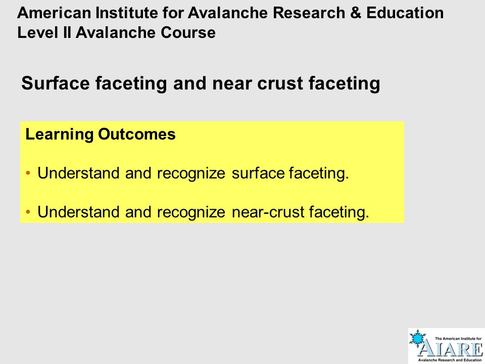 Surface faceting and near crust faceting Learning Outcomes Understand and recognize surface faceting. Understand and recognize near-crust faceting. Am