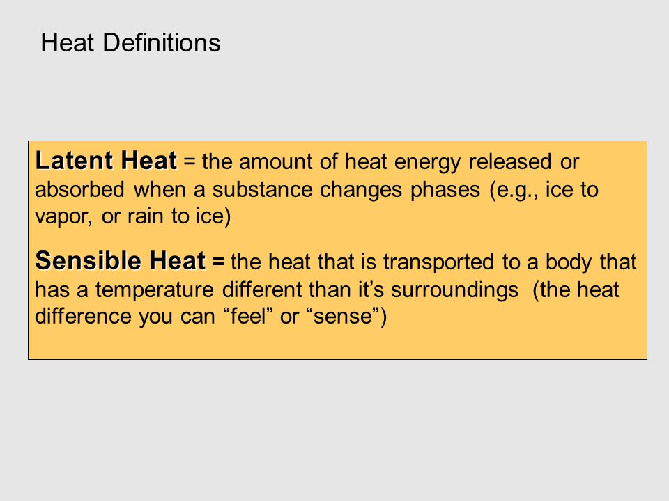 Heat Definitions Latent Heat Latent Heat = the amount of heat energy released or absorbed when a substance changes phases (e.g., ice to vapor, or rain