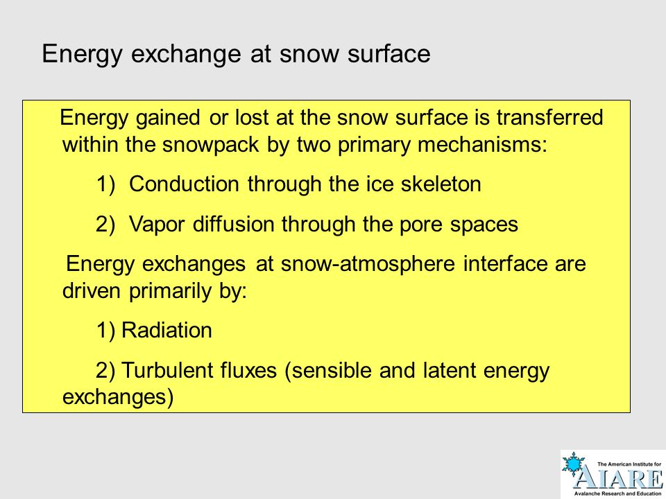 Energy exchange at snow surface Energy gained or lost at the snow surface is transferred within the snowpack by two primary mechanisms: 1)Conduction t