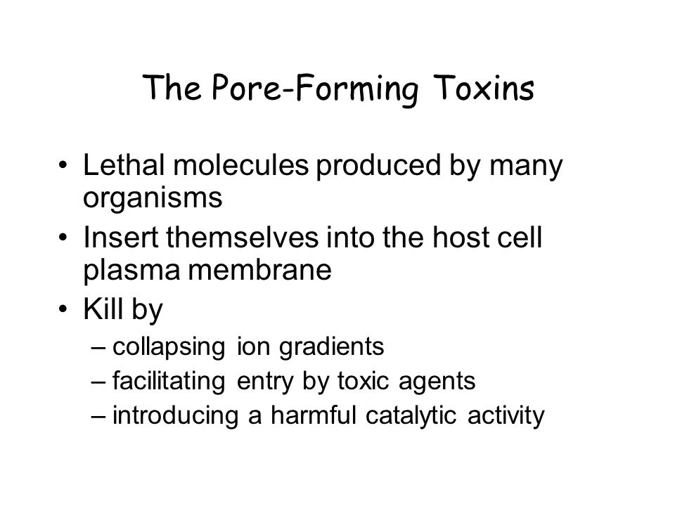 The Pore-Forming Toxins Lethal molecules produced by many organisms Insert themselves into the host cell plasma membrane Kill by –collapsing ion gradients –facilitating entry by toxic agents –introducing a harmful catalytic activity