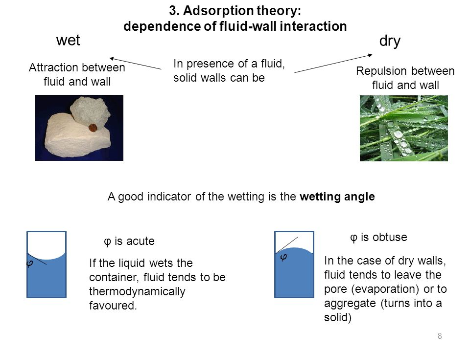 8 dry   Attraction between fluid and wall Repulsion between fluid and wall A good indicator of the wetting is the wetting angle If the liquid wets the container, fluid tends to be thermodynamically favoured.