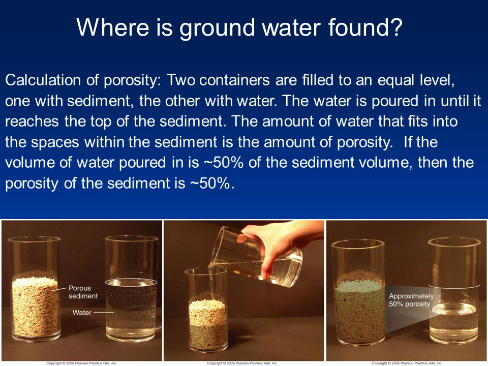 Calculation of porosity: Two containers are filled to an equal level, one with sediment, the other with water. The water is poured in until it reaches
