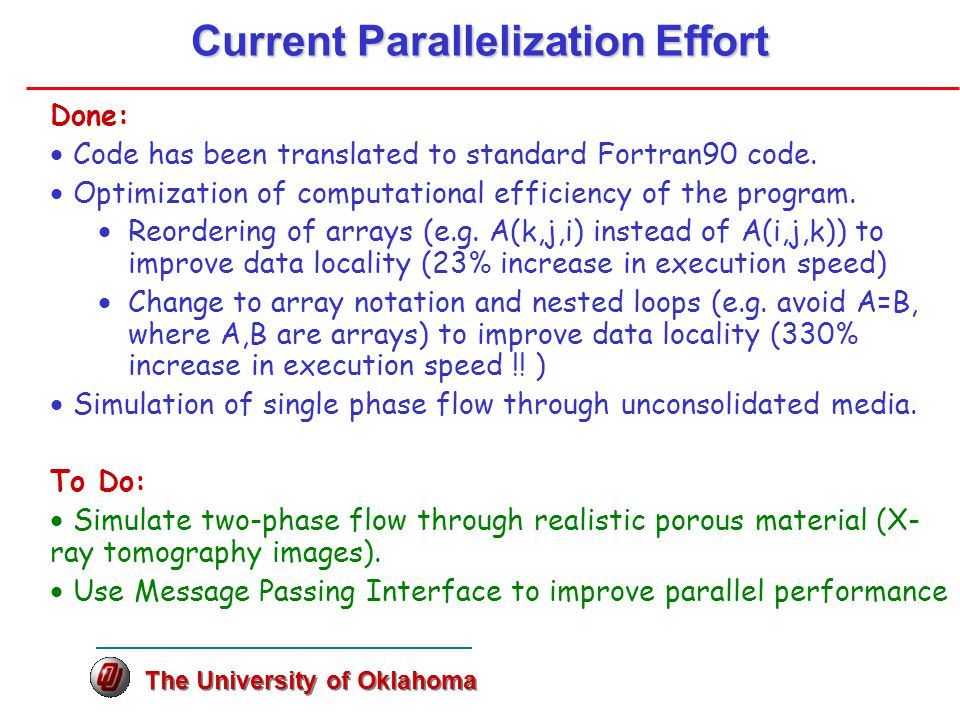 Current Parallelization Effort Done:  Code has been translated to standard Fortran90 code.