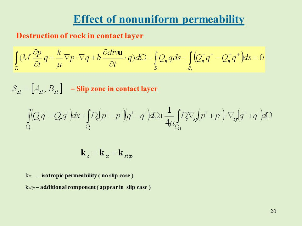 20 Effect of nonuniform permeability Destruction of rock in contact layer – Slip zone in contact layer k is – isotropic permeability ( no slip case ) k slip – additional component ( appear in slip case )