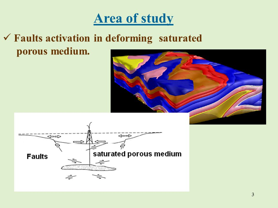 3 Аrea of study Faults activation in deforming saturated porous medium.