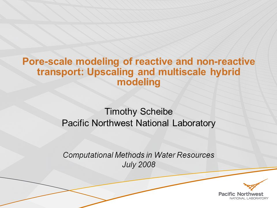 Pore-scale modeling of reactive and non-reactive transport: Upscaling and multiscale hybrid modeling Timothy Scheibe Pacific Northwest National Laboratory Computational Methods in Water Resources July 2008