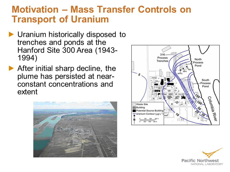 Motivation – Mass Transfer Controls on Transport of Uranium Uranium historically disposed to trenches and ponds at the Hanford Site 300 Area (1943- 1994) After initial sharp decline, the plume has persisted at near- constant concentrations and extent