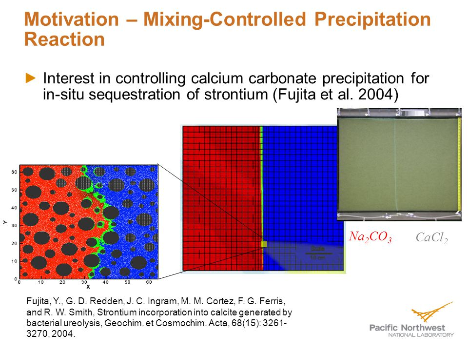 Motivation – Mixing-Controlled Precipitation Reaction Interest in controlling calcium carbonate precipitation for in-situ sequestration of strontium (Fujita et al.