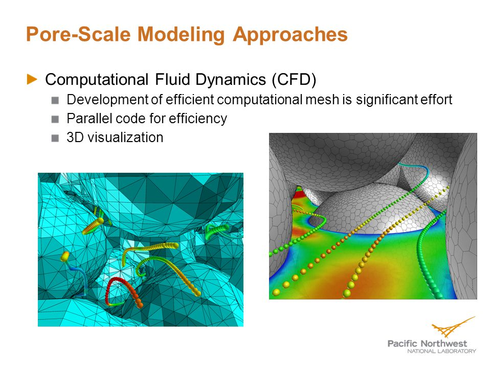 Pore-Scale Modeling Approaches Computational Fluid Dynamics (CFD) Development of efficient computational mesh is significant effort Parallel code for efficiency 3D visualization