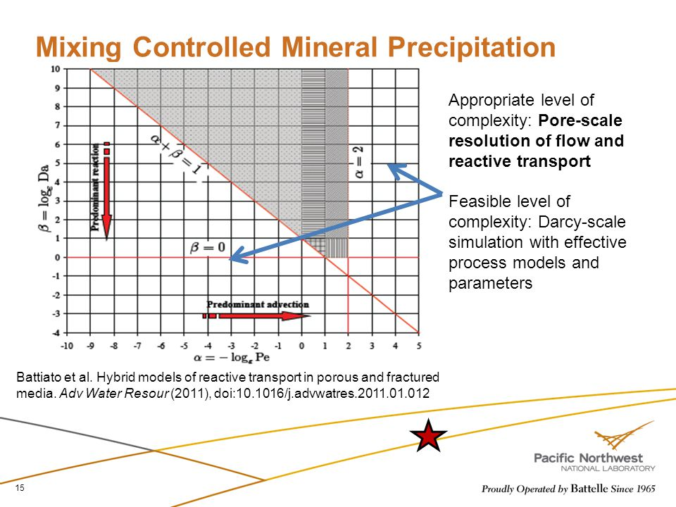 Mixing Controlled Mineral Precipitation 15 Battiato et al. Hybrid models of reactive transport in porous and fractured media. Adv Water Resour (2011),