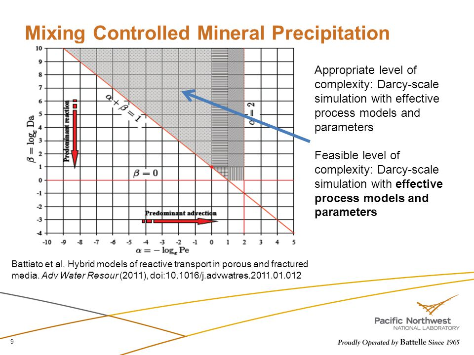 Mixing Controlled Mineral Precipitation 9 Battiato et al. Hybrid models of reactive transport in porous and fractured media. Adv Water Resour (2011),