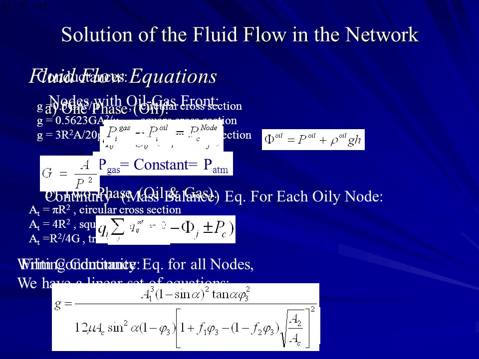 Solution of the Fluid Flow in the Network Fluid Flow Equations a) One Phase (Oil): a) One Phase (Oil): b) Two-Phase (Oil & Gas): b) Two-Phase (Oil & G