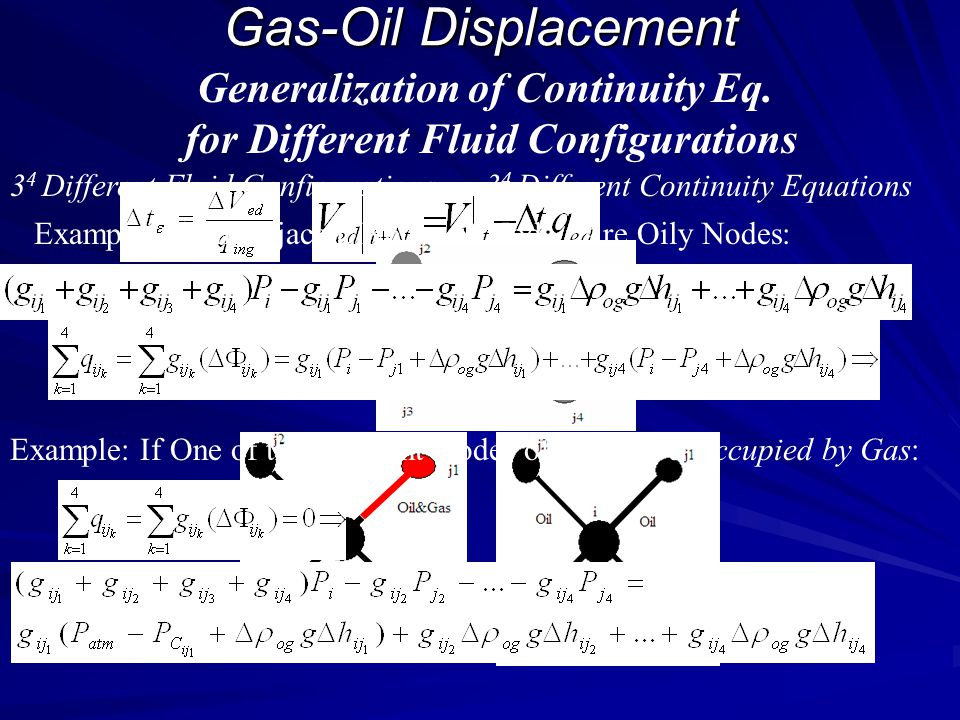 Gas-Oil Displacement Generalization of Continuity Eq.