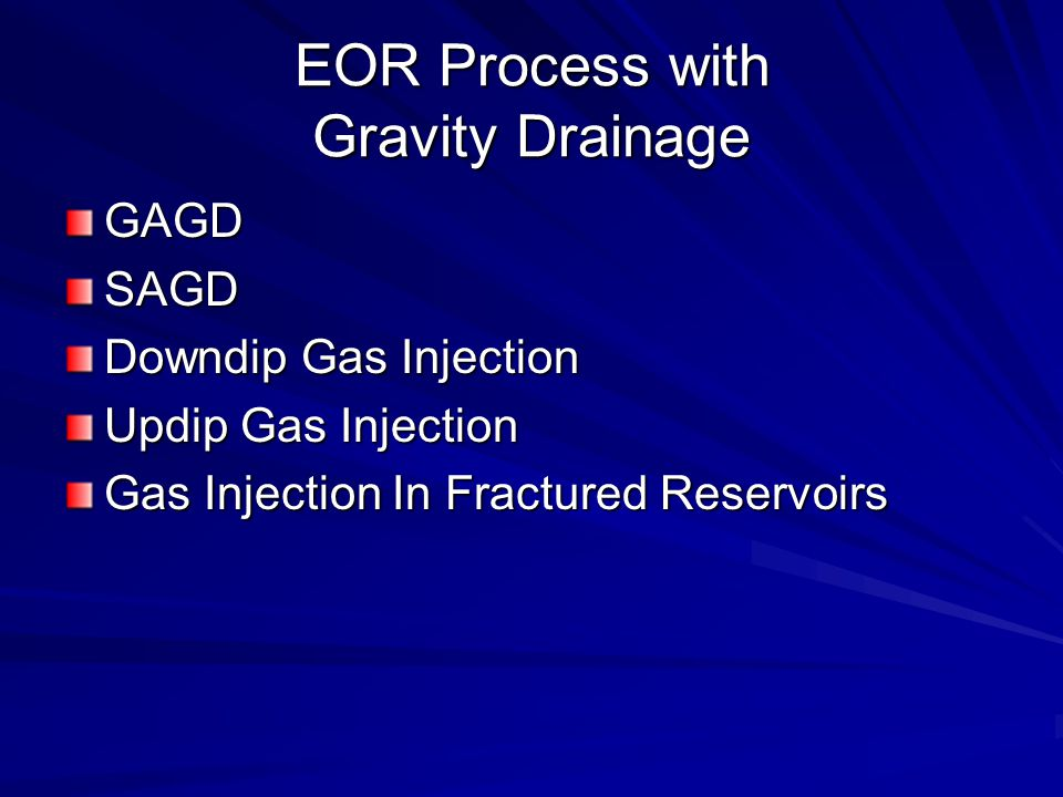 EOR Process with Gravity Drainage GAGDSAGD Downdip Gas Injection Updip Gas Injection Gas Injection In Fractured Reservoirs