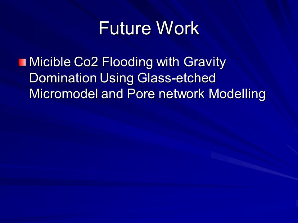 Future Work Micible Co2 Flooding with Gravity Domination Using Glass-etched Micromodel and Pore network Modelling