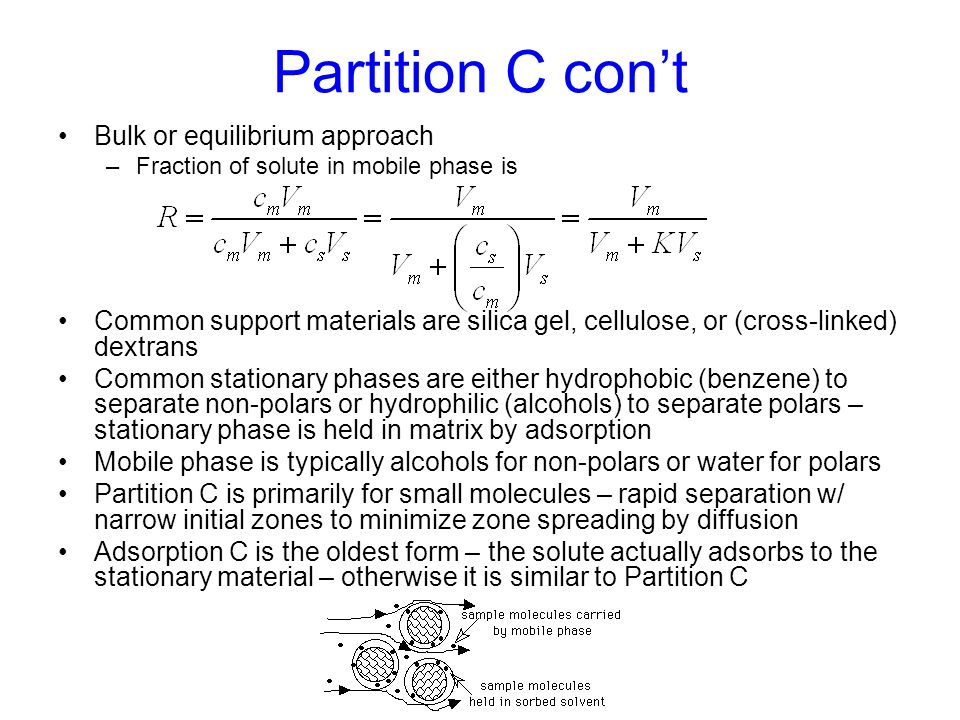 Partition C con't Bulk or equilibrium approach –Fraction of solute in mobile phase is Common support materials are silica gel, cellulose, or (cross-li
