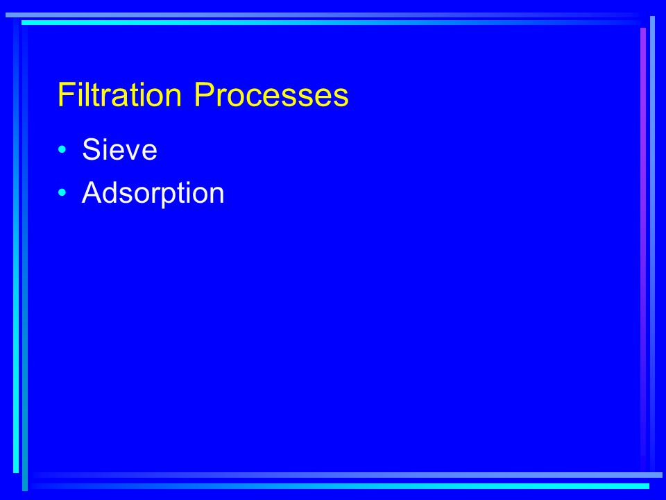 Filtration Processes Sieve Adsorption